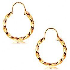 Cercei din aur 585 - cercuri spiralate cu suprafață lucioasă, 14 mm