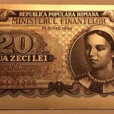 20 Lei 1950 bancnota rara serie rosie polimer placat cu argint