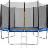 Set Trambulina 180 cm cu plasa si scarita In One IO0027Albastru