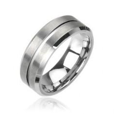 Inel mat din tungsten, de culoare argintie - Marime inel: 70