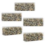 Set 5 bucati cos piatra - gard Gabion ABGB-0291, 100 x 40 x 30 cm, metal, gri
