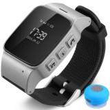 Ceas GPS Copii si Seniori iUni U100, Telefon incorporat, Pedometru, Notificari, Wi-fi, Silver + Boxa Cadou