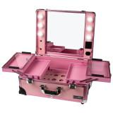 Statie Makeup Portabila Profesionala cu Lumini, Pink Delight - LUXORISE