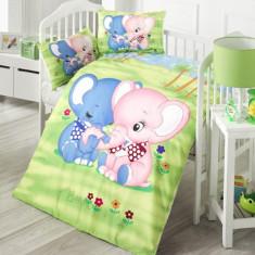 Lenjerie de pătuț copii Valentini Bianco VKB10/Elephant