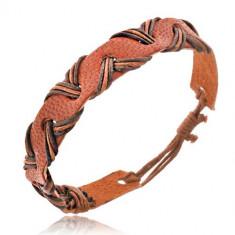 Brăţară din piele - maro caramel, şnururi în formă de valuri