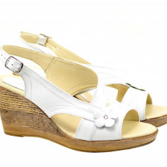 Sandale dama, din piele naturala cu platforma - S10XA, 36 - 40, Alb, Bej, Bleumarin, Galben, Gri, Maro, Negru, Rosu, Roz, Verde