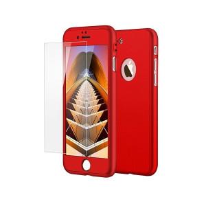 Husa 360 fata+spate+folie sticla pentru iphone 7, rosu