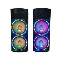Boxe active profesonale 6055, 2 x 300 W, 2 microfoane Wi-Fi , Bluetooth, USB, Radio, Negru
