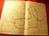 Harta istorica Romania dupa cucerirea Independentei ,dim.= 29x22cm