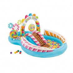 Piscina Gonflabila Intex pentru Copii, Candy Zone cu Tobogan si 6 Mingi, Capacitate 206L, Rotund