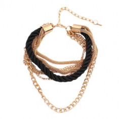 Brăţară de mână - şnur negru răsucit în spirală, lanţuri aurii