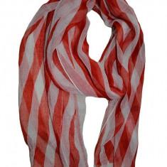 Esarfa subtire de dama, culoare alb-rosu, cu design de dungi
