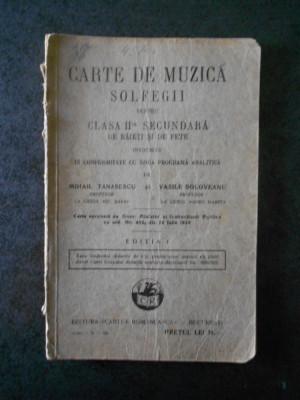 MIHAIL TANASESCU - CARTE DE MUZICA. SOLFEGII PENTRU CLASA A II-A (1929) foto