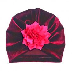 Turban ciclame din catifea cu floare