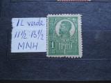 1919-Romania-Ferdinand bust mare 1 leu verde-1buc.-MNH-RAR