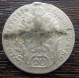 (A822) MONEDA DIN ARGINT AUSTRIA - 20 KREUZER 1787, LIT. B, A FOST AGATATA