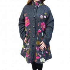 Jacheta trendy de toamna, primavara, gri cu imprimeu multicolor
