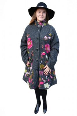 Jacheta trendy de toamna, primavara, gri cu imprimeu multicolor foto