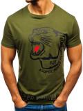 T-shirt cu imprimeu pentru bărbat verde Bolf 10820