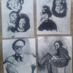 Patru reproduceri fotografice lucrari Corneliu Baba//una cu semnatura artistului