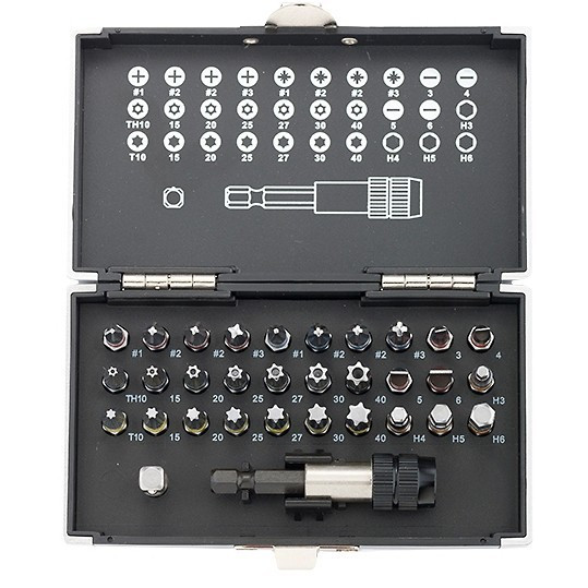 GROSS Set biti, adaptor magnetic, 32 piese in cutie de plastic Gross 11363