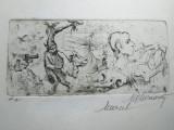 MARCEL CHIRNOAGA, gravura- Fantezie, Abstract, Cerneala