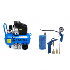 Kit Compresor de Aer cu Ulei Tagred Mobil, 50L, 3.8 CP, 8 Bar, 206 L/min +Set Pistoale Pneumatice, Furtun, Accesorii, ulei CADOU