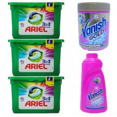 3 x Ariel 3 in 1 Capsure, 15 pernute/cutie + Vanish Pink 1L + Vanish pudra 423g