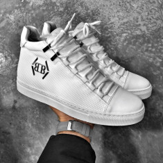 Sneakers pentru barbati, alb, casual, piele sintetica, peste glezna - BB223