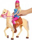 Set papusa cu cal Barbie, Mattel