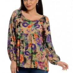 Bluza Dama Platca Multicolora cu Maneca Bufanta