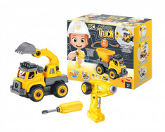 Set constructie - Camion autobasculanta si excavator cu telecomanda foto