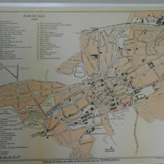 Harta Cluj, 1920, 28x33 cm, lb. franceza, Drotleff Sibiu, superba