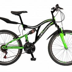 Bicicleta MTB FS 24 FIVE Alfa cadru otel culoare negru verde