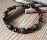 Cumpara ieftin Bratara dama - handmade - aspect retro/ vintage - cristale fatetate -
