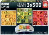 Puzzle Educa - Deco Exotic Fruits and Flowers 3 x 500 piese