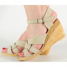 Sandale crem sidefat platforma piele naturala (cod SS06)