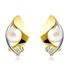 Cercei din aur de 14K, două culori, perlă albă și zirconiu transparent