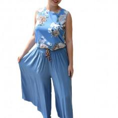 Pantaloni dama lejeri Adelina cu croi evazat si elastic in talie ,nuanta de albastru deschis