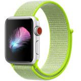 Cumpara ieftin Curea iUni compatibila cu Apple Watch 1/2/3/4/5/6, 42mm, Nylon Sport, Woven Strap, Electric Green