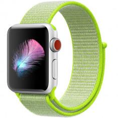 Curea pentru Apple Watch 42 mm iUni Woven Strap, Nylon Sport, Electric Green
