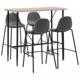 VidaXL Set mobilier de bar, 5 piese, gri taupe, material textil