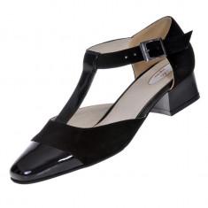 Pantofi sanda dama, piele naturala intoarsa, piele lacuit negru, toc gros,...