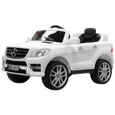 Masinuta electrica Premier Mercedes ML-350, 12V, roti cauciuc EVA, scaun piele ecologica, alba