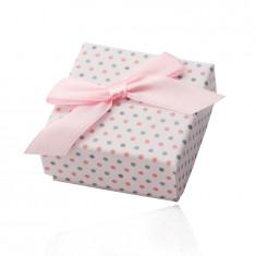 Cutie cadou albă pentru inele sau cercei, puncte roz și gri, panglică