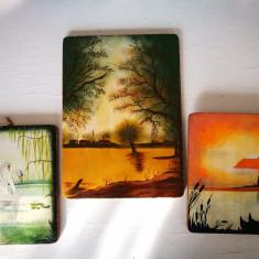 Lot 3 tablouri pictate pe lemn: Apus, Far, Lebede. Tablou vechi pictat pe lemn