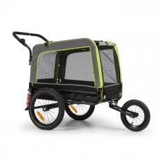 KLARFIT Husky Vario, 2-în-1, cărucior pentru câini, bugină pentru câini, aproximativ 240L, 600D, Oxfort, verde