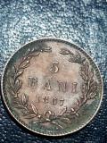 5 bani 1867 Heaton, luciu, necuratata