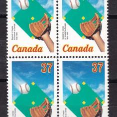 Canada 1988  sport  baseball  MI 1101  bloc de 4   MNH  w59
