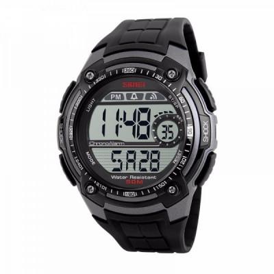 Ceas Barbatesc SKMEI CS900, curea silicon, digital watch, Functii- alarma, ora, data, cadran luminat, rezistent 3ATM, negru foto